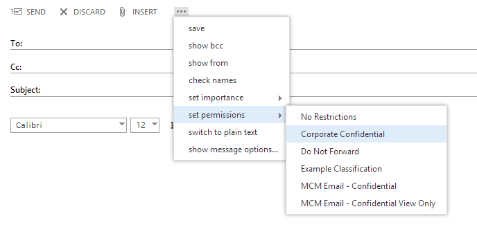 Message classifications exchange 2013 exchange online and outlook note that during testing i found it could take up to 24 hours for exchange online to show both the rms templates in owa and the message classifications maxwellsz