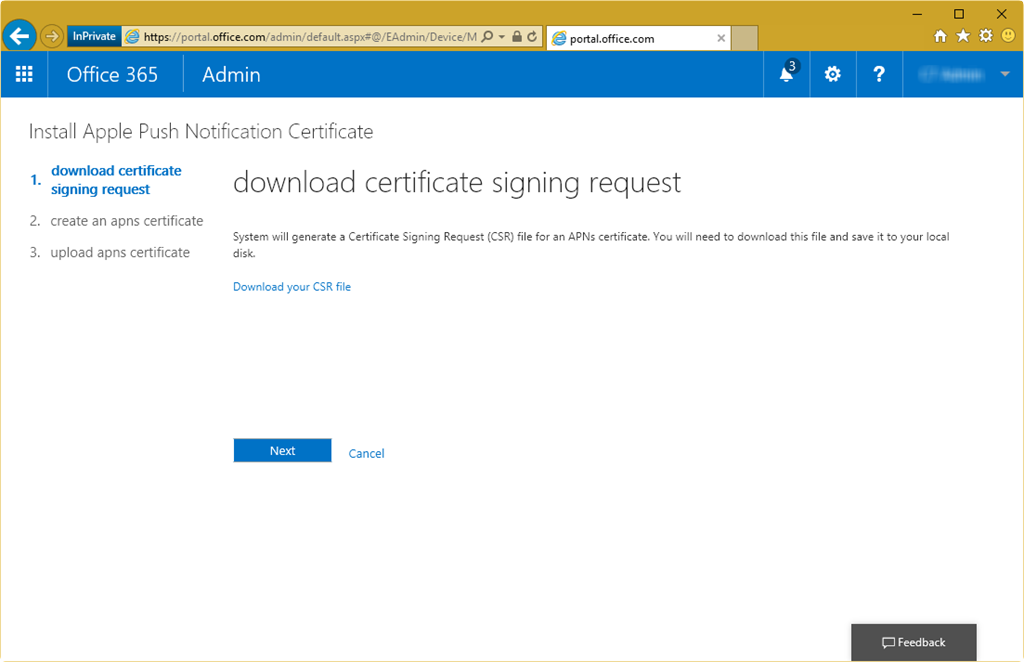 Renewing Apple APN for Office 365 Mobile Device Management