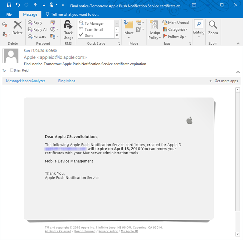 renewing apple apn for office 365 mobile device management c7
