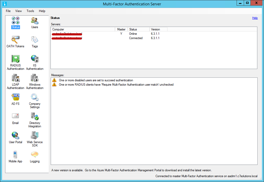 Upgrading Azure Multi-Factor Authentication Server – C7
