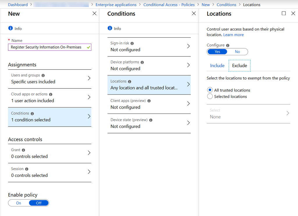 Register For Azure AD MFA From On-Premises Or Known Networks Only