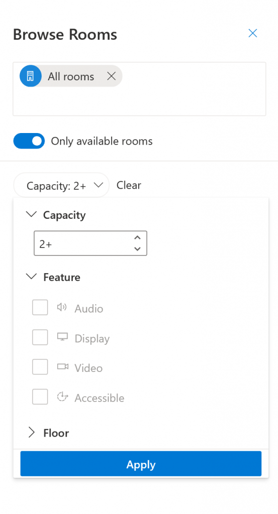 Browse rooms with filter dialog