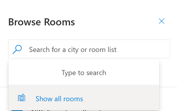 Browse rooms dialog