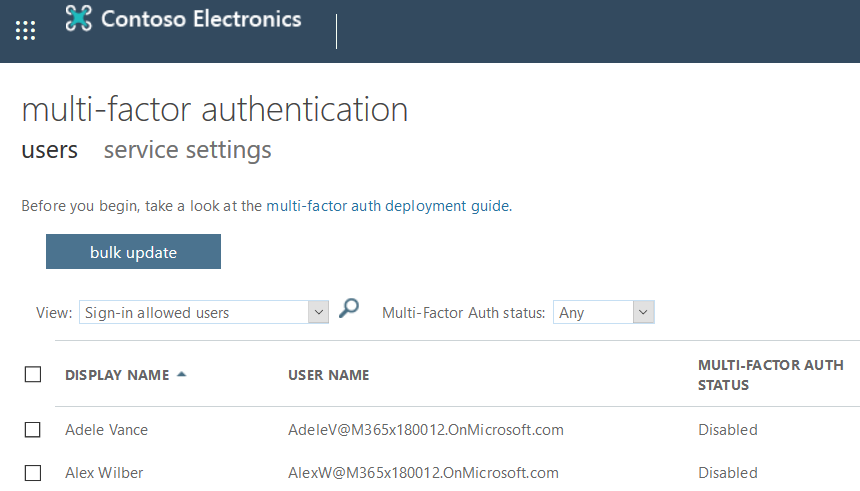 Legacy MFA Admin Page