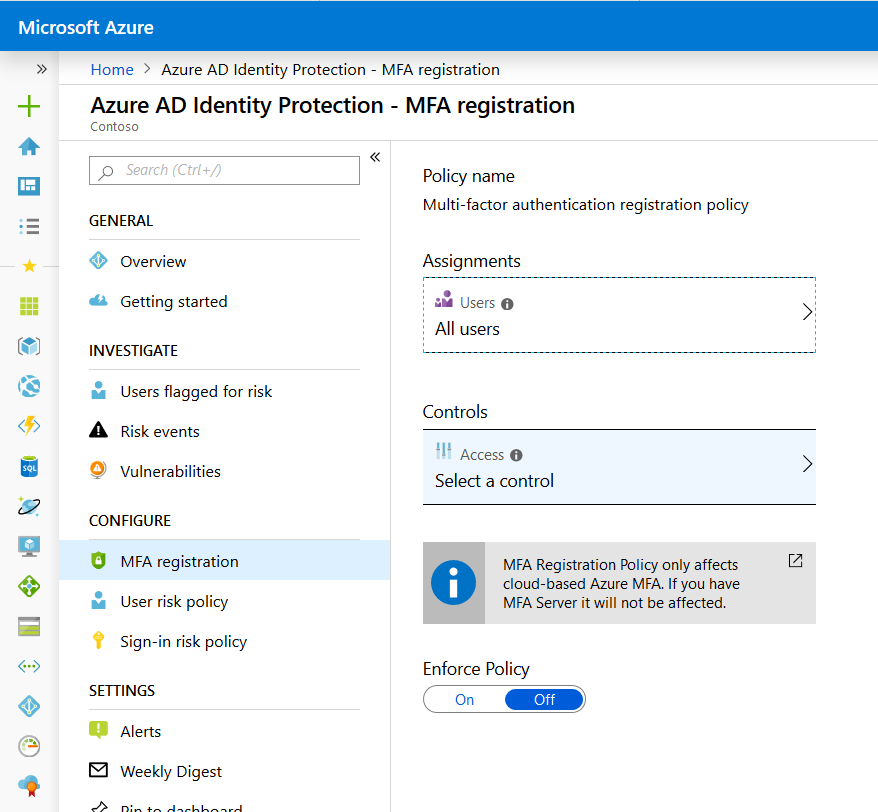 Azure AD P2 MFA Registration