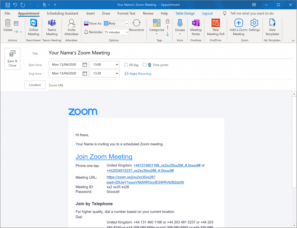Zoom Meeting Created