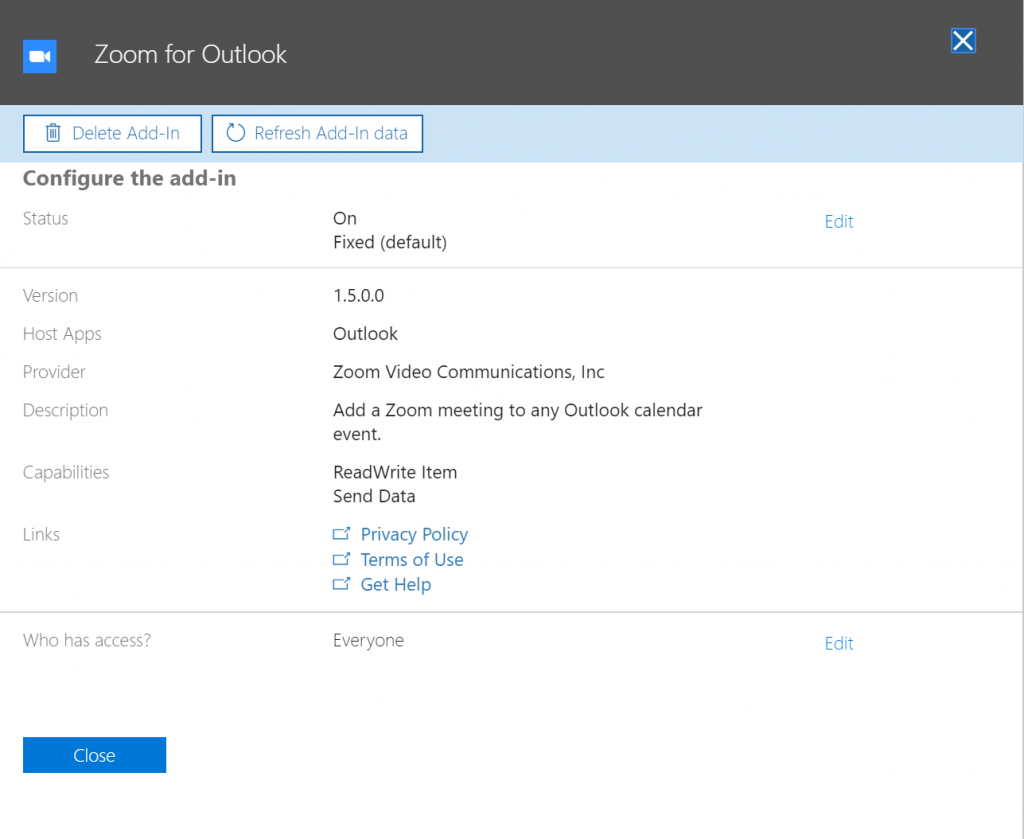 Zoom for Outlook Add-In Settings