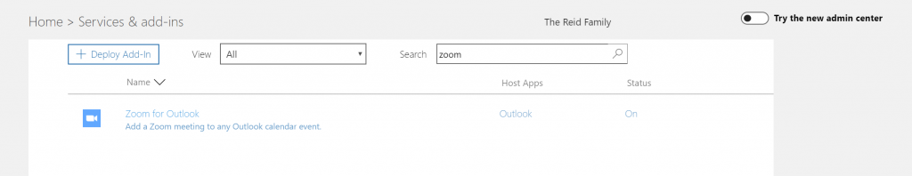 Add-In Shown in Old Admin Center