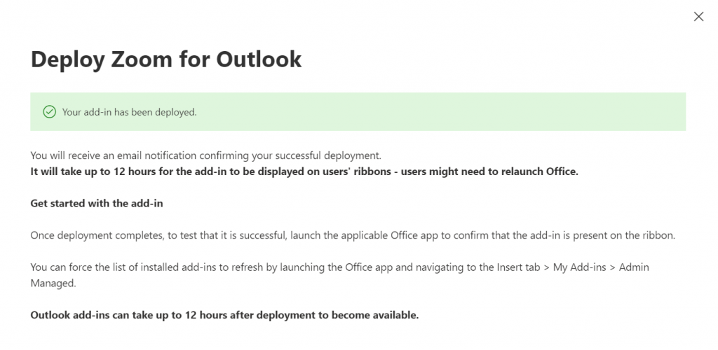 Deploy Zoom for Outlook