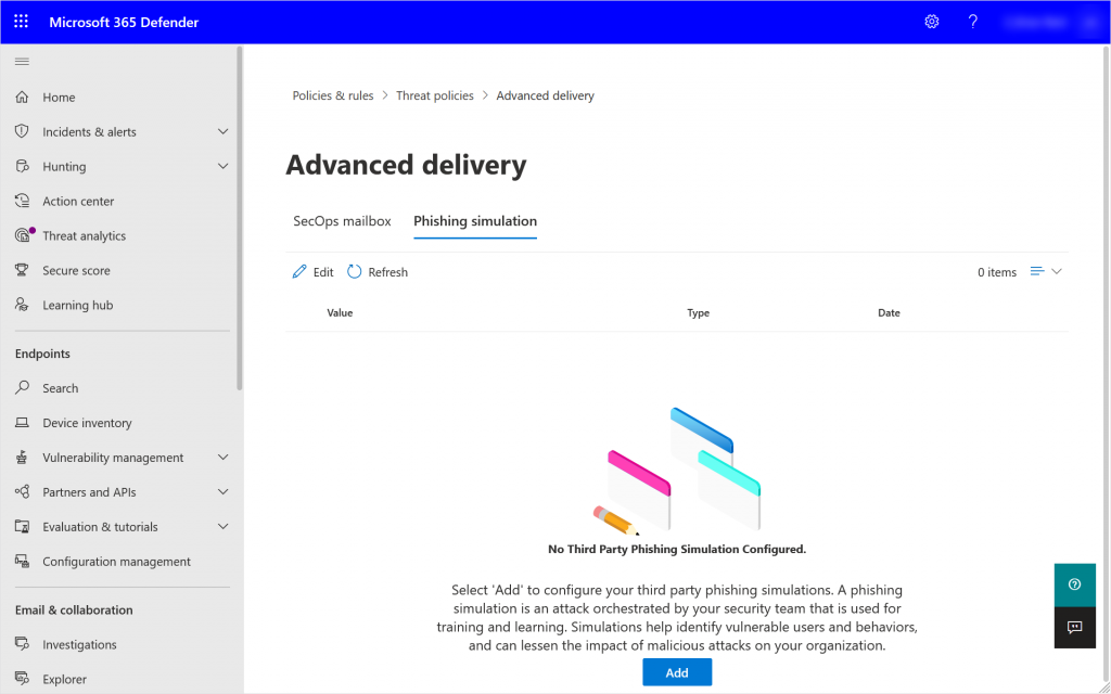 Security Portal showing the Phishing Simulation tab of the Advanced Delivery Policy