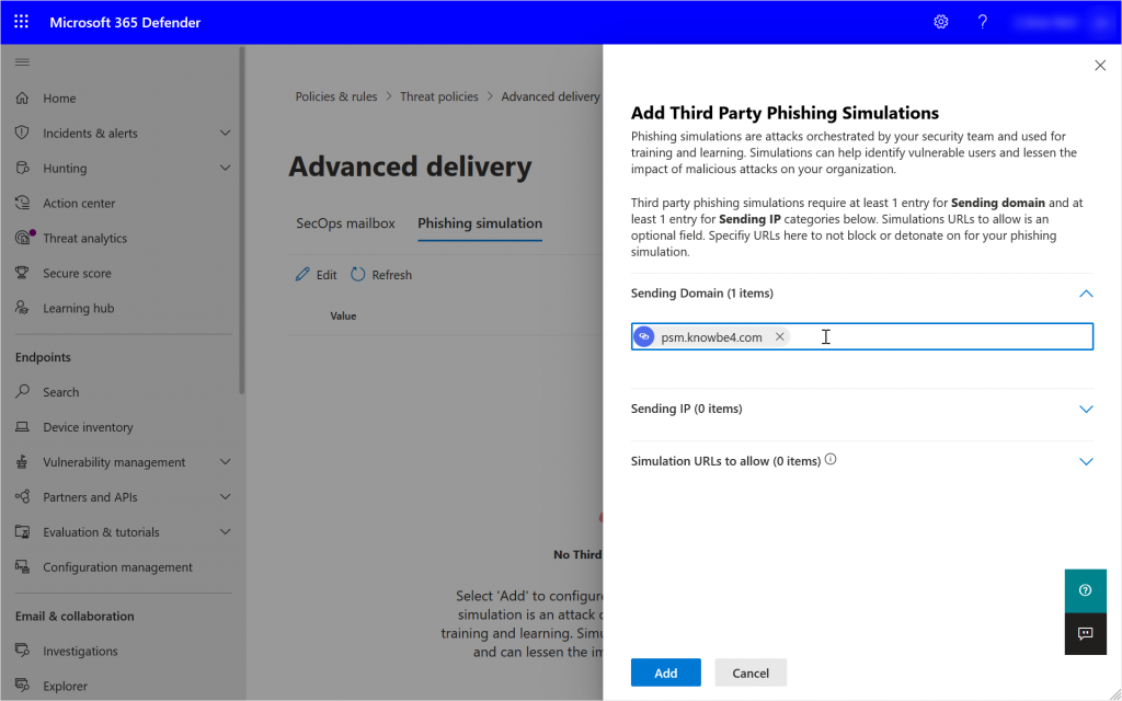 Security Portal showing adding a Sending Domain to the Advanced Delivery policy