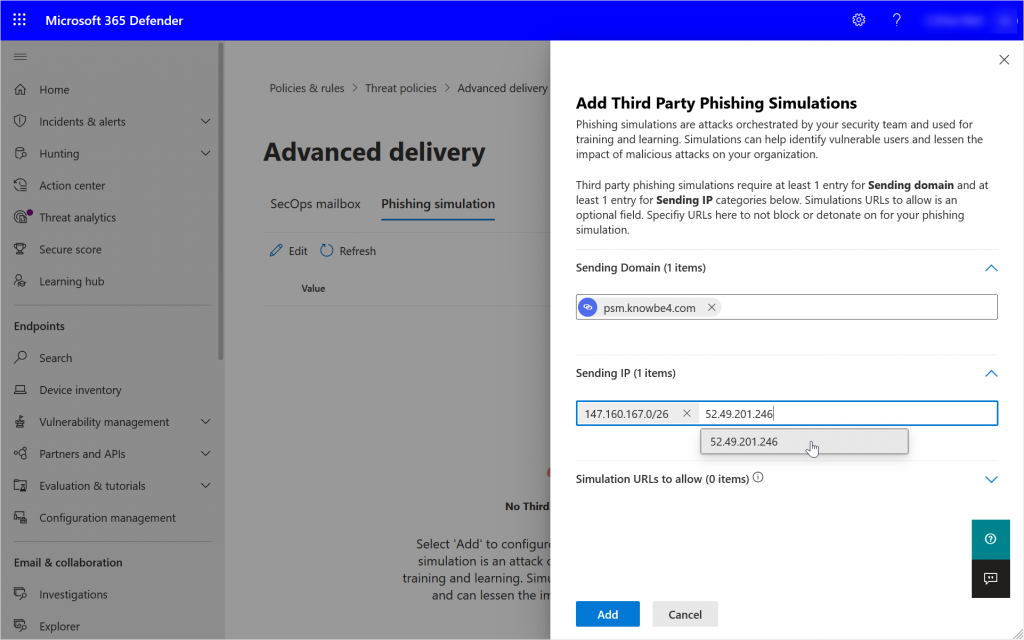 Security Portal showing adding Sending IPs to the Advanced Delivery Policy