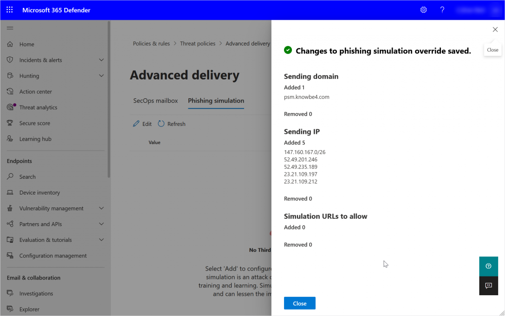 Security Portal showing adding a new Advanced Delivery Phishing Simulation Policy
