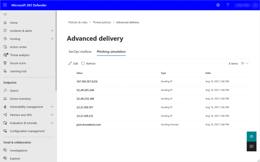 Security Portal showing the Phishing Simulation Advanced Delivery Policy once edited